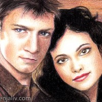"""Sketch card featuring Mal and Inara from Firefly. Colouring pencils on Bristol paper 