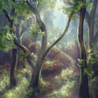 A quick painting of a forest, for practice. Digital work | 2014