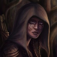 Character portrait of an elven huntress. Digital work | 2014.