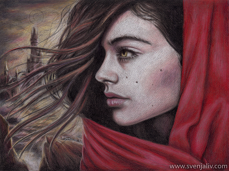 Illustration for a story about a woman whose lover has been imprisoned in a tower out in the sea. Colour pencils on pastel paper | 24 x 32 cm | 2013.