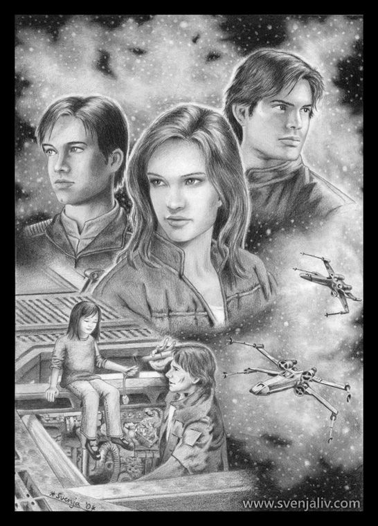 Character illustration featuring Jaina Solo and her brothers. Pencil | 2007.