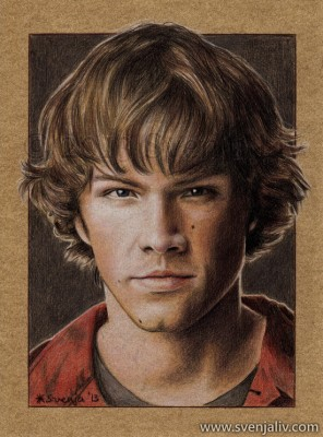 Jared Padalecki, aka Sam Winchester of Supernatural. Colouring pencils on vellum-print paper | A4 | 2013.
