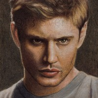 Jensen Ackles, aka Dean Winchester of Supernatural. Colouring pencil on vellum-print paper | 2013.