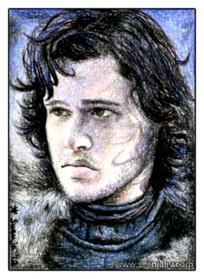 Sketch card featuring Jon Snow from Game of Throne. Colouring pencils on watercolour paper | 2.5 x 3.5"
