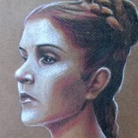 A quick sketch of Leia Organa. Colour pencils on toned paper | A4 | 2014.