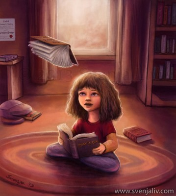 "A young Hermione Granger reading ""Matilda"", a book about a smart little girl who loves books and can move things with her mind, and deciding to try moving the nearest object at hand. Digital work 
