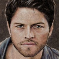 Misha Collins, who plays Castiel in Supernatural. Colouring pencils on vellum-print paper | A4 | 2013.