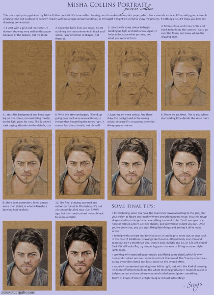 A run-down of my process drawing Misha Collins.