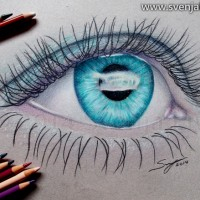 An eye drawing inspired by Frozen. Colour pencil on toned paper | A4 | 2014.