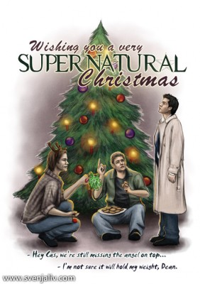 An alternate version of the SPN Christmas card I made.