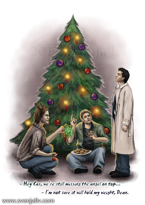 Christmas-themed SPN illustration I did, meant for a Christmas card ...