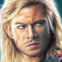 Sketch card featuring Thor from 'The Avengers'. Colouring pencils on Bristol paper | 2.5 x 3.5"