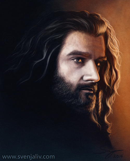 Thorin Oakenshield lost in his memories of the fire that destroyed Erebor. Digital work | 2014