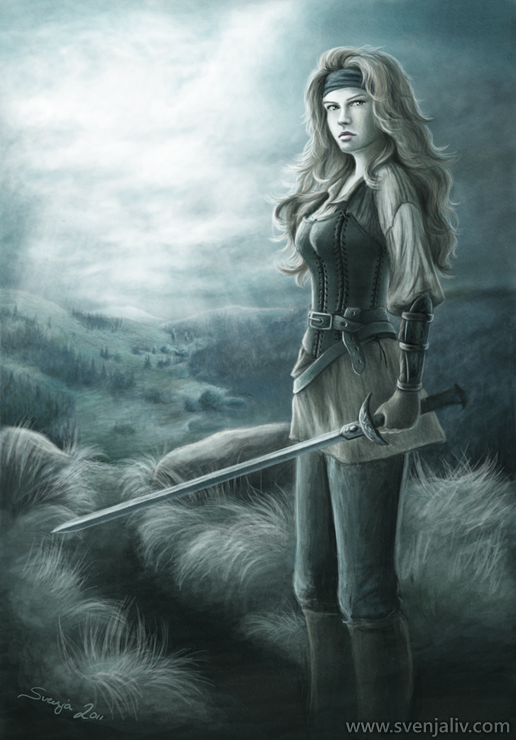 Illustration of a female warrior character. Digital | 2011