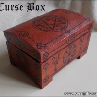 "Hand-painted wooden jewellery box with various motifs from ""Supernatural""."