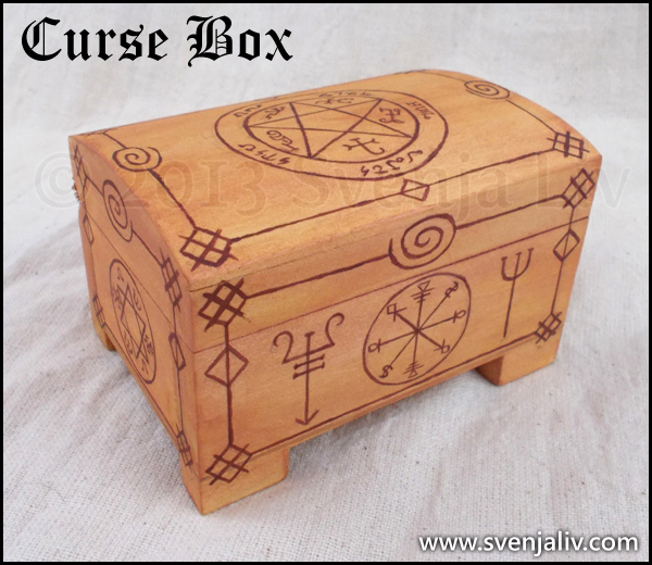 "Hand-painted jewellery box featuring protection charms and symbols from ""Supernatural""."