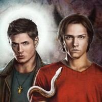 Dean and Sam Winchester from Supernatural, in their roles as Michael and Lucifer's vessels. Digital work | 2014.