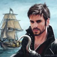 Killian Jones and the Jolly Roger.