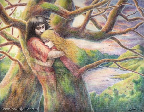 Deirdre of the Sorrows and her lover, Naoise Mac Uisneach.