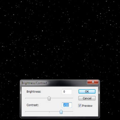 "6. Select ""Brightness/Contrast"" again and play around with the contrast until the stars are as bright as you want them. Leave the brightness as it is."